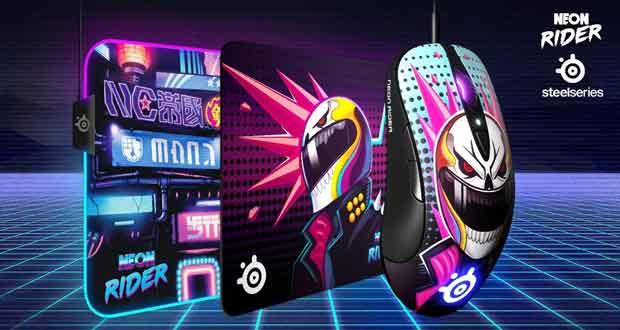 Souris SteelSeries Sensei Ten Neon Rider Edition et les tapis QcK L Neon Rider Edition et QcK Prism XL Neon Rider Edition