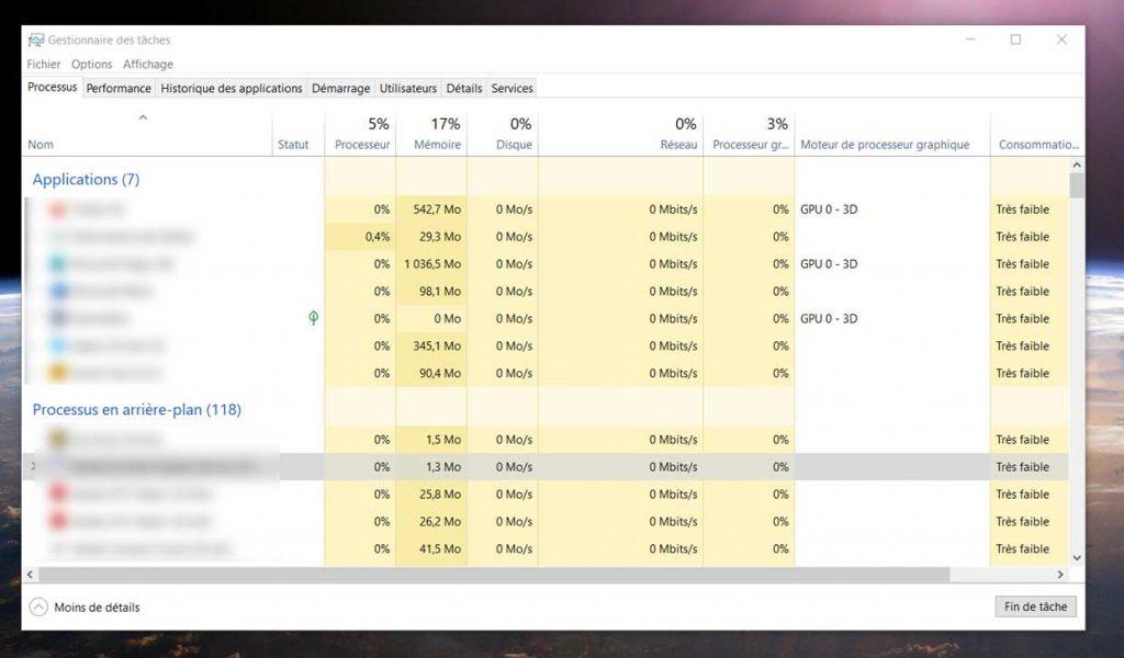 Le gestionnaire des tâches de Windows 10