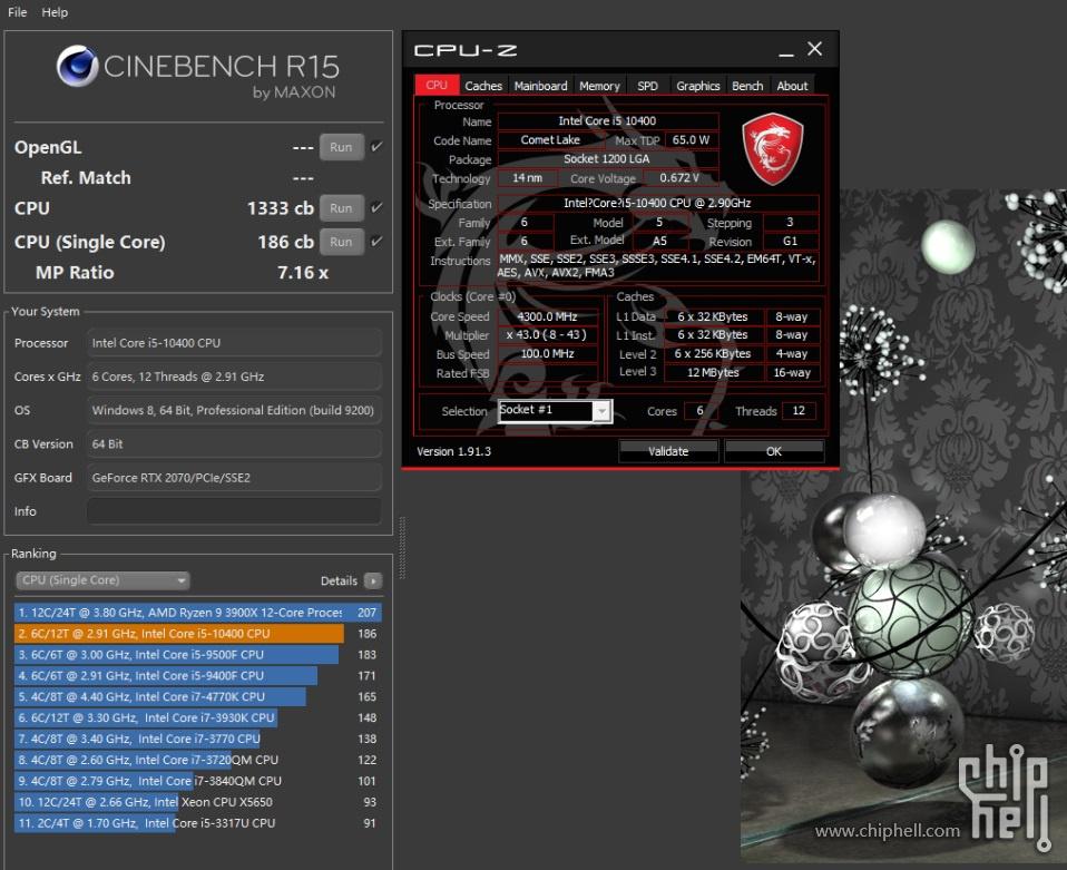 Core i5-10400 Vs Core i9-9400 sous Cinebench R15
