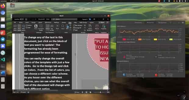 Word fonctionne avec le distribution Linux Ubuntu 20.04