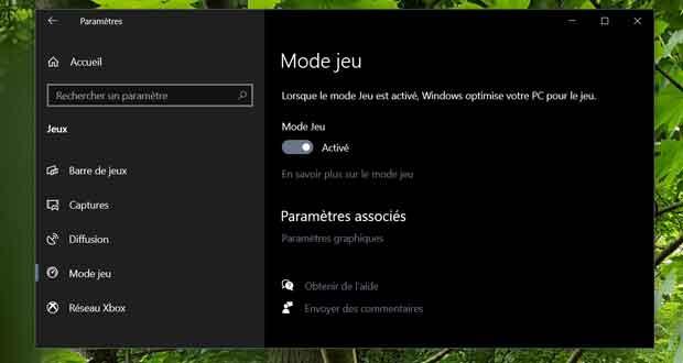 Windows 10 et le Mode Jeu