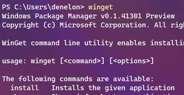 Windows 10 et le gestionnaire de paquets (winget)