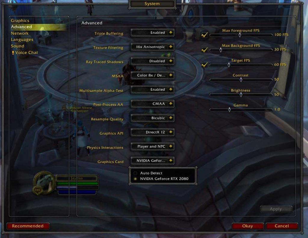 World of Warcraft : Shadowlands – Options graphiques concernant l'activation du Ray Traced Shadows.