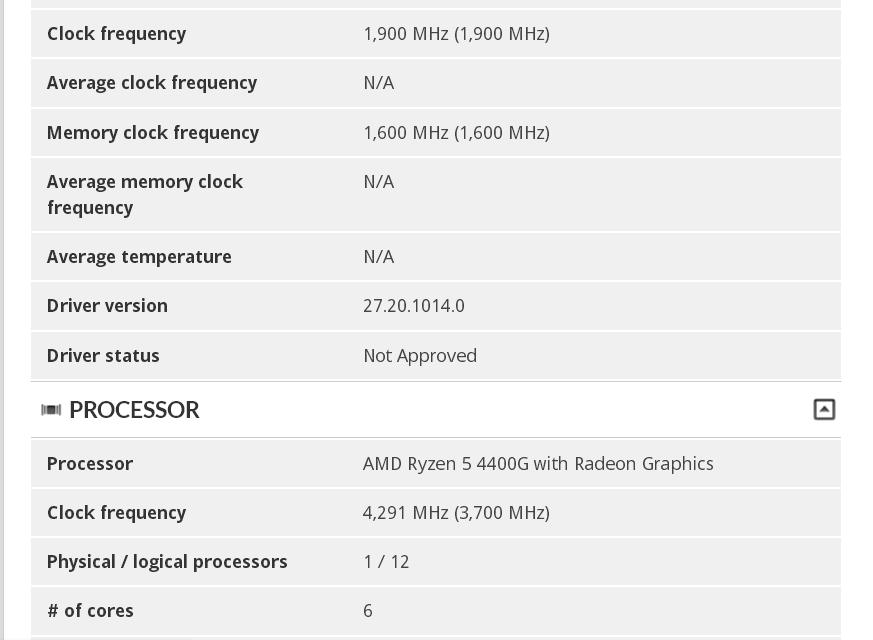 APU Ryzen 5 4400G sous 3DMark 11