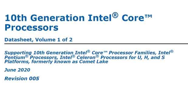 10th generation Intel Core Processors – Datasheet revision 005 Juin 2020