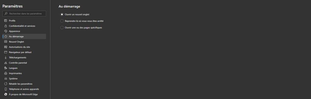 Microsoft Edge - Paramètres