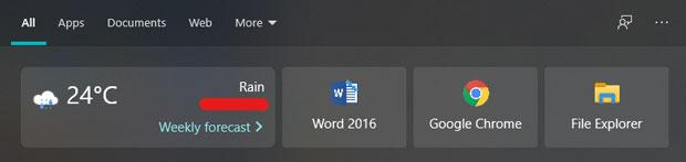 Module de recherche de Windows 10