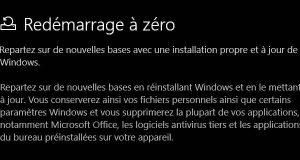 Windows 10 et l'option Redémarrage à zéro