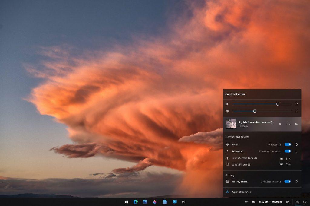 Windows 10 – Concept d'un centre de contrôle