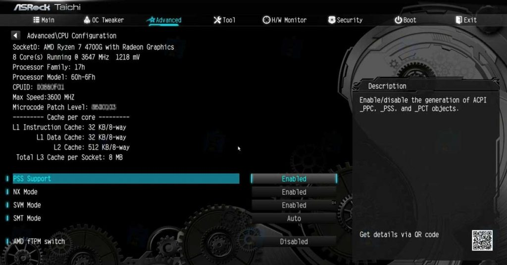 APU Ryzen 7 4700G d'AMD - BIOS carte mère ASRock B550 Taichi