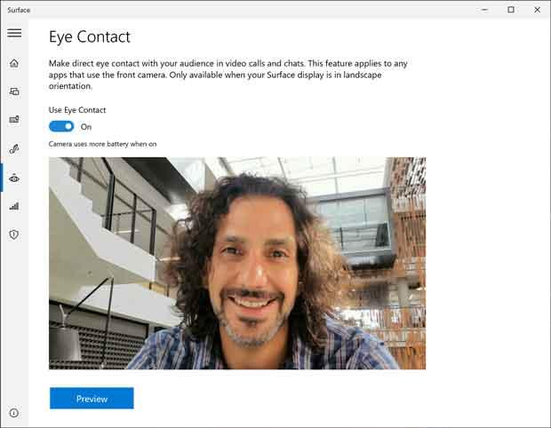 Surface Pro X et la fonction Eye Contact