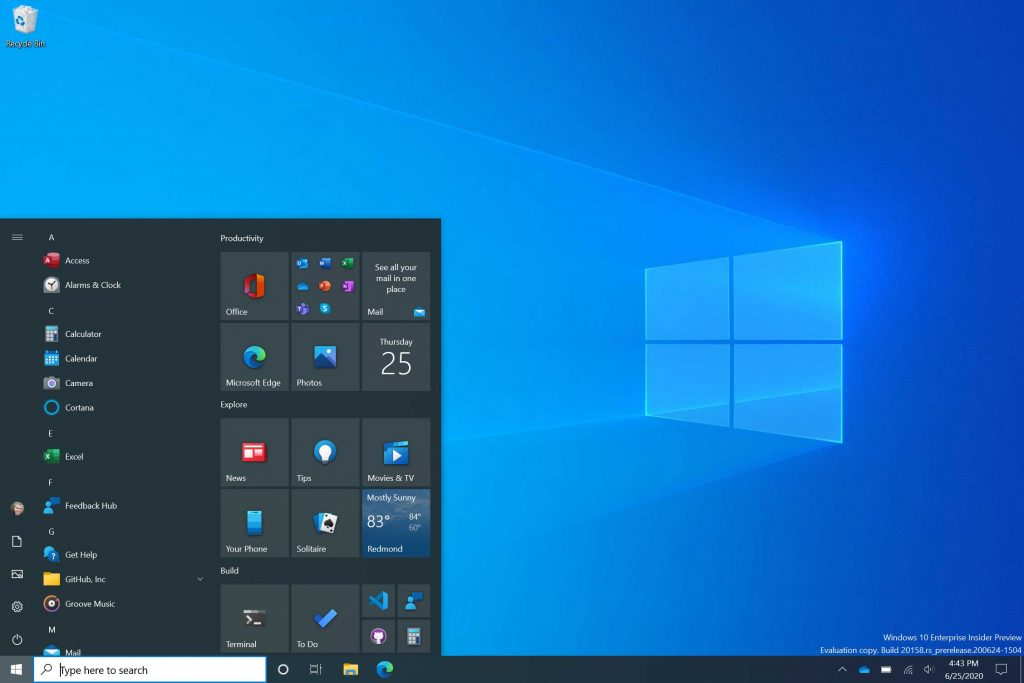 Windows 10 build 20261 – Microsoft introduit un nouveau menu démarrer