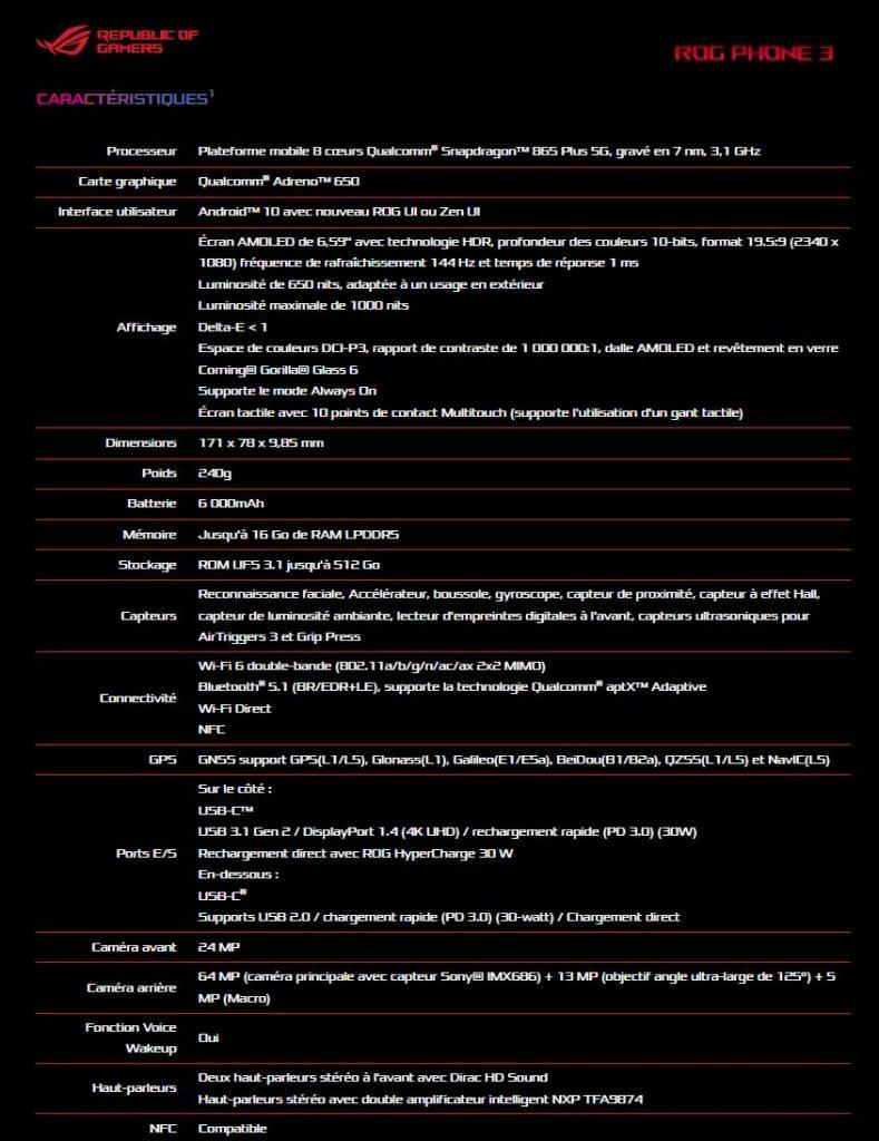 ROG Phone 3 - Les caractéristiques