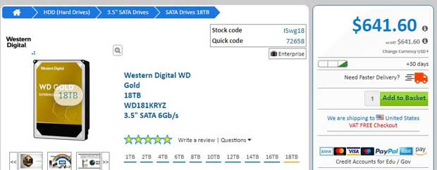 Disque dur WD Gold de Western Digital