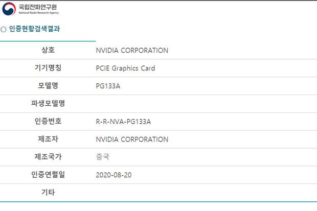 GeForce RTX 30 series (Ampere) - Certification RRA