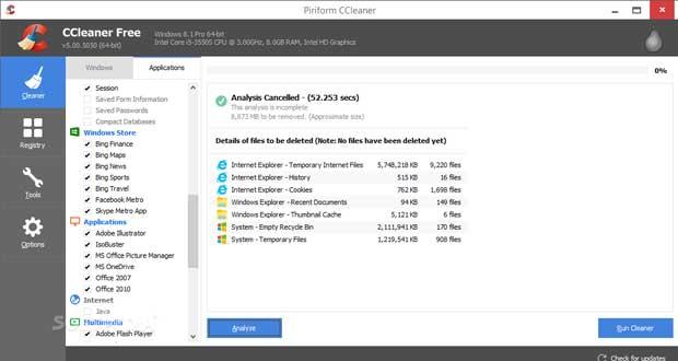 Utilitaire CCleaner et Windows 10