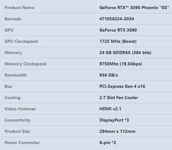 GeForce RTX 3090 Phoenix GS - Spécifications