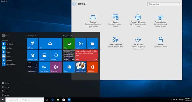 Interface de Windows 10 1507