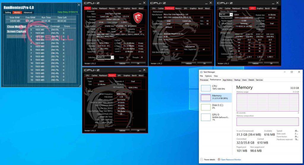 Kit 2 X 16 Go de DDR4-4000 MHz CL16 – Carte mère MSI MPG Z490 GAMING PLUS équipée d'un processeur Core i7-10700K