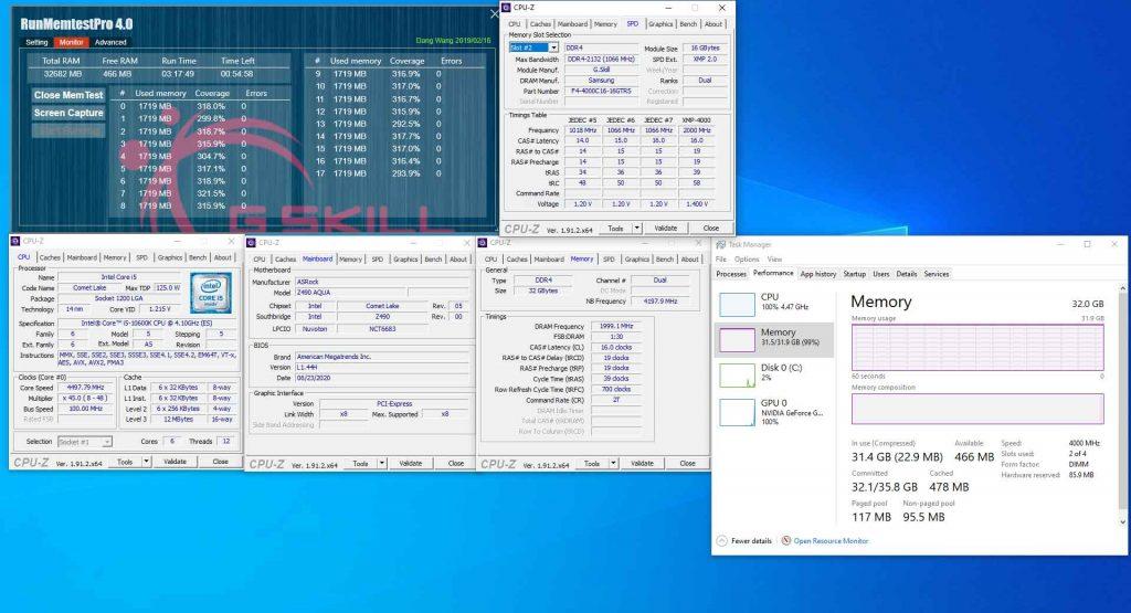 Kit 2 X 16 Go de DDR4-4000 MHz CL16 – Carte mère ASRock Z490 AQUA équipée d'un processeur Core i5-10600K