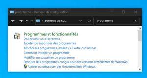 Windows 10 – Programmes et fonctionnalités (Panneau de configuration)