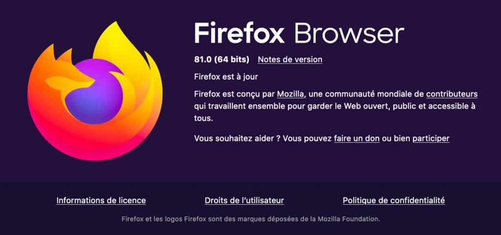 Navigateur Firefox 81 de Mozilla