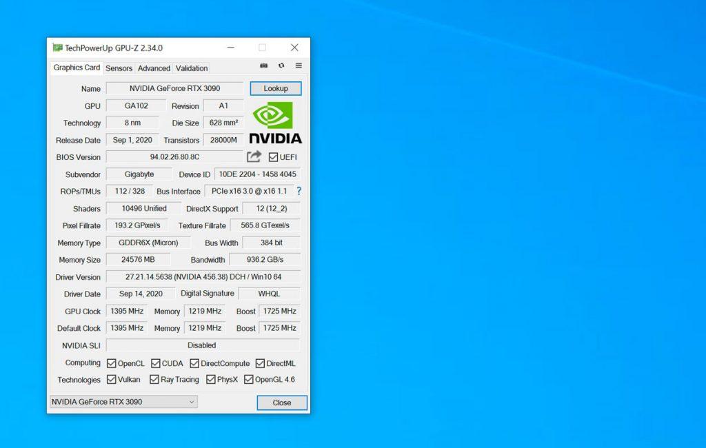 GeForce RTX 3090 Eagle OC 24G - GPU-Z