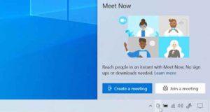 Windows 10, Meet Now débarque dans la barre des tâches.
