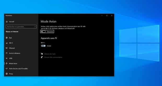 Windows 10 et le mode Avion
