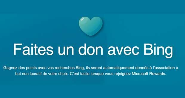 Moteur de recherche Bing de Microsoft – Programme « Give with Bing ».