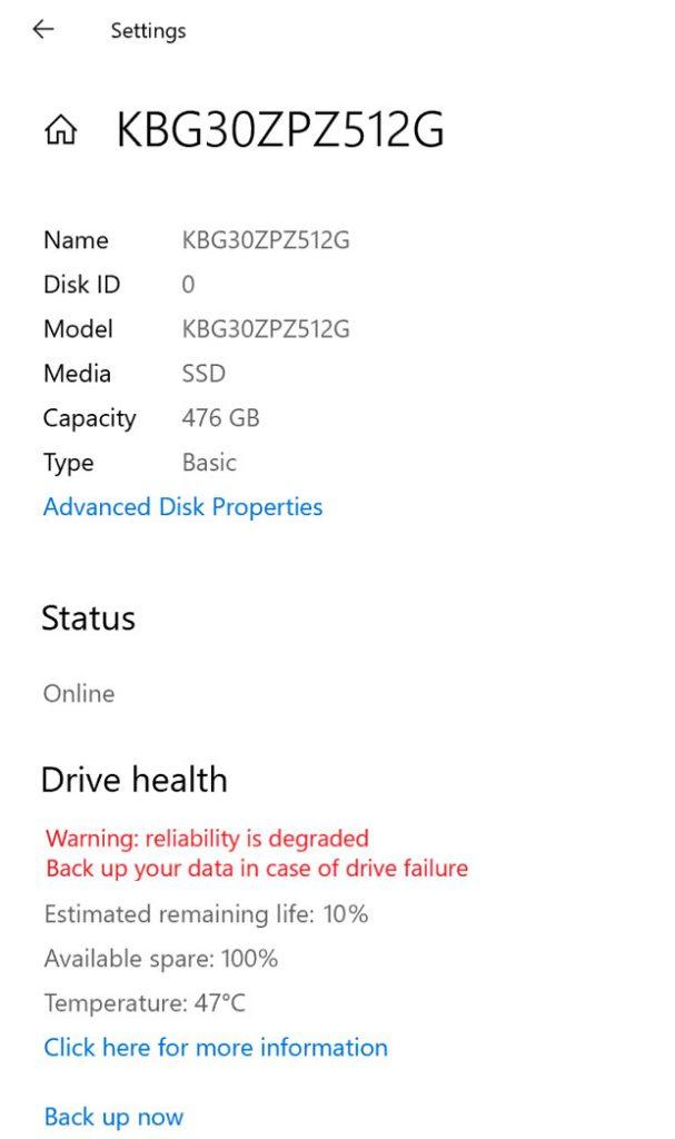Bilan de l'état de santé d'une unité SSD NVMe - Windows 10