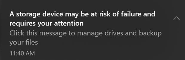 Notification concernant l'état de santé d'une unité SSD NVMe