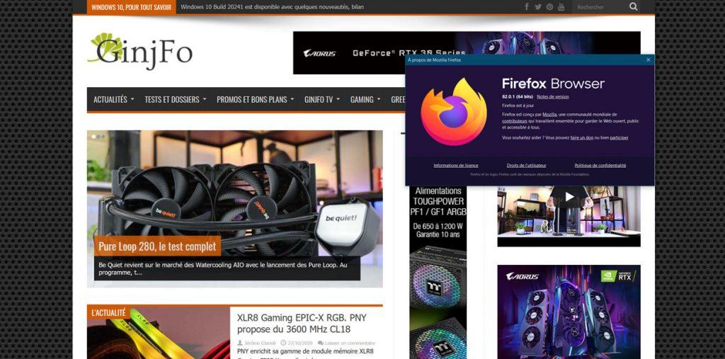 Navigateur FireFox 82 de Mozilla