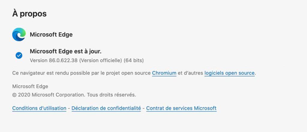 Microsoft Edge 86 sous macOS