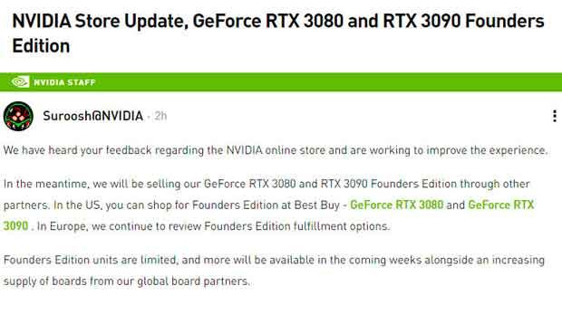 GeForce RTX 3080 et 3090 Founders Edition - Déclaration de Nvidia
