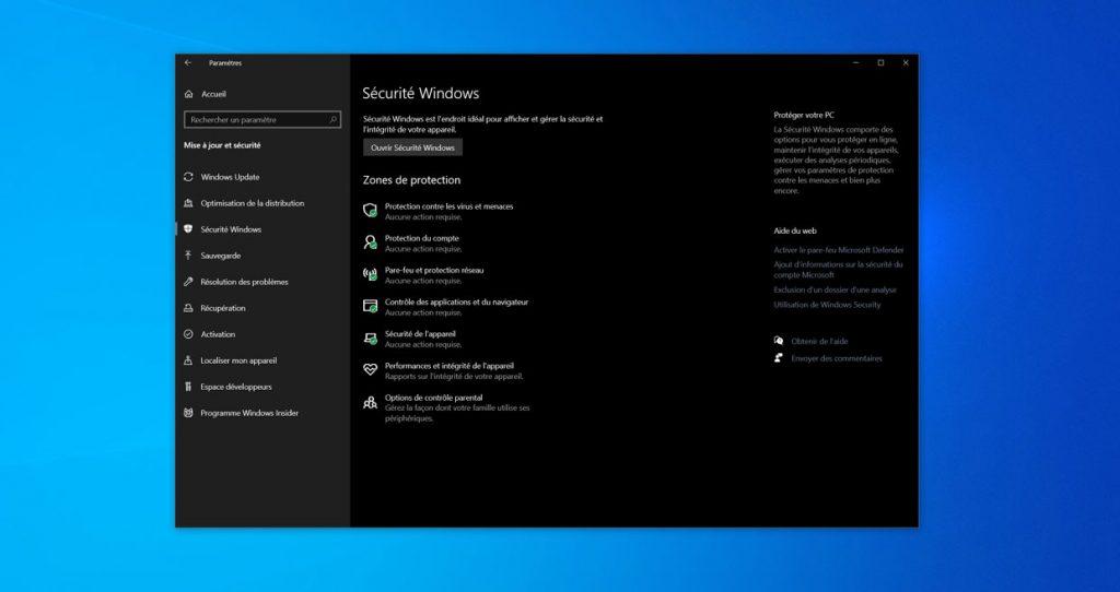 Sécurite Windows sous Windows 10