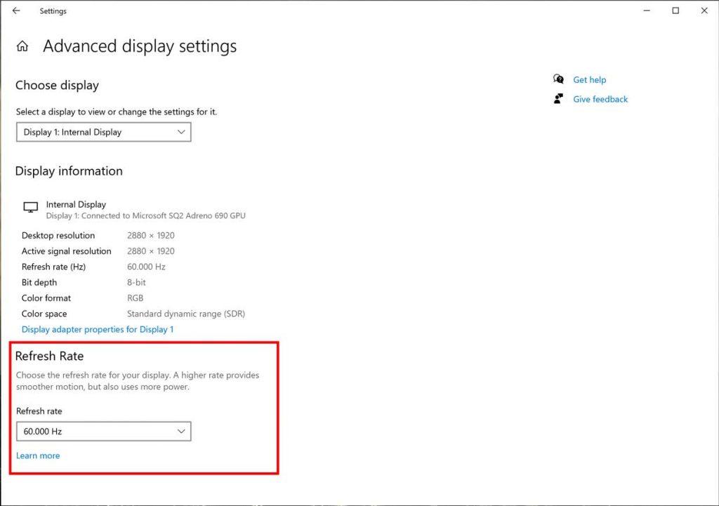 Windows 10 et le réglage du taux de rafraichissement