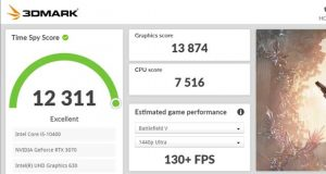 3DMark propose une estimation du framerate dans plusieurs jeux