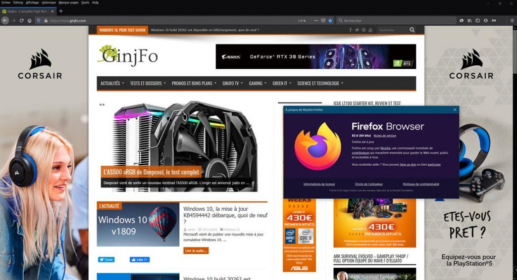 Navigateur Firefox 83 de Mozilla