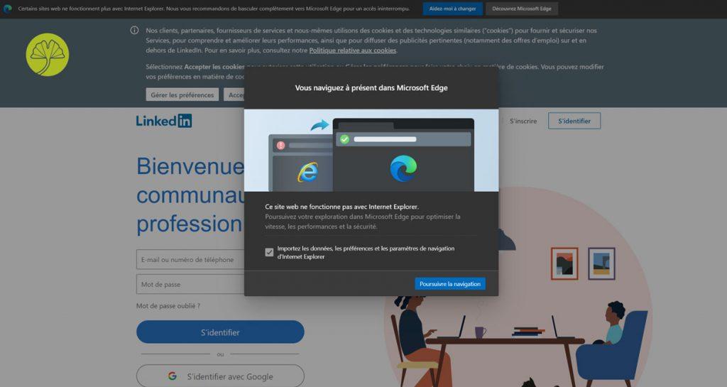 Microsoft Edge sous Windows 10 - Redirection dans Internet Explorer