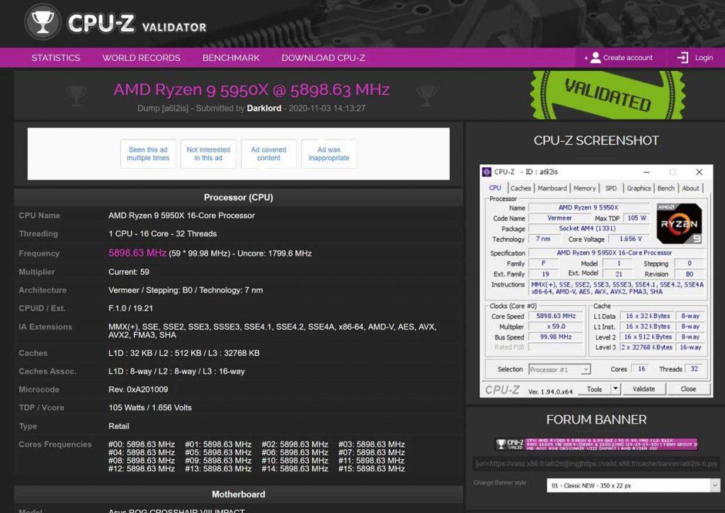 Overclocking extrême du Ryzen 9 5950X d'AMD
