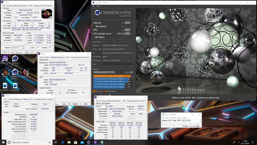 Performance du Ryzen 5 5600X (OC) - Cinebench R15