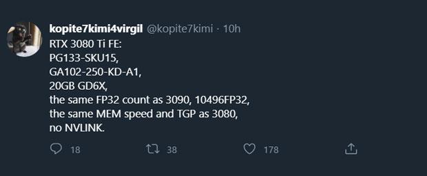 tweet de kopite7kimi concernant l'hypothétique GeForce RTX 3080 Ti