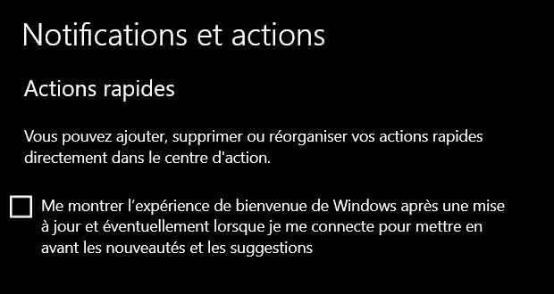 Windows10 - Notifications et actions