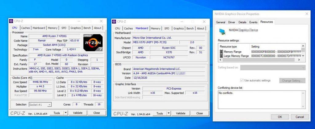 Technologie SAM avec un processeur Ryzen 4000G et une GeForce RTX 30 series