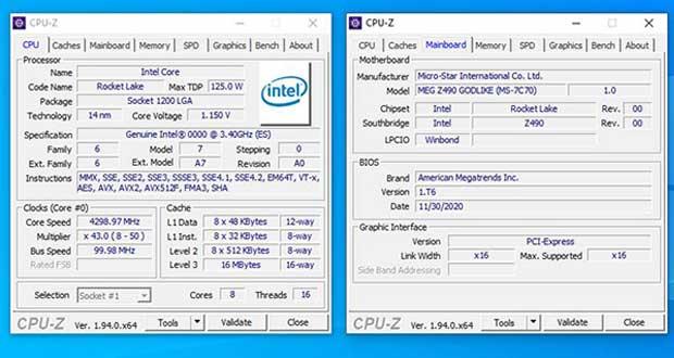 Core i9-11900K - CPU-Z