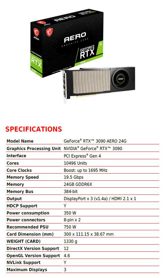 GeForce RTX 3090 Aero - Caractéristiques