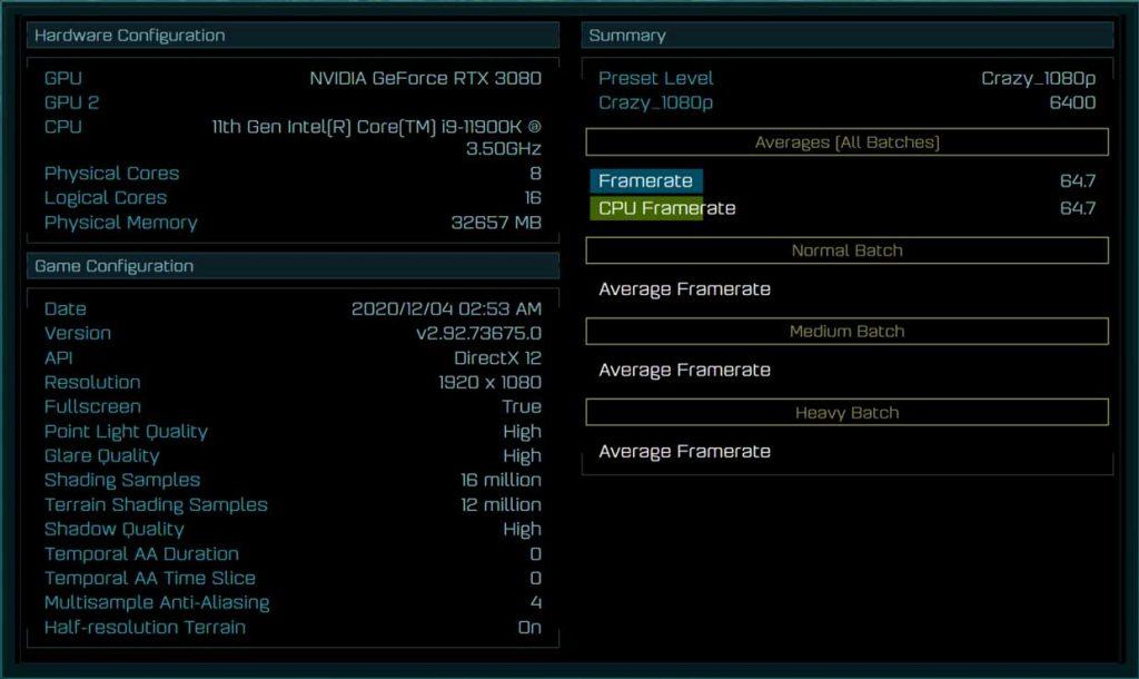 Performance du Core i9-11900K sous le benchmark Ashes of The Singularity (1080p)