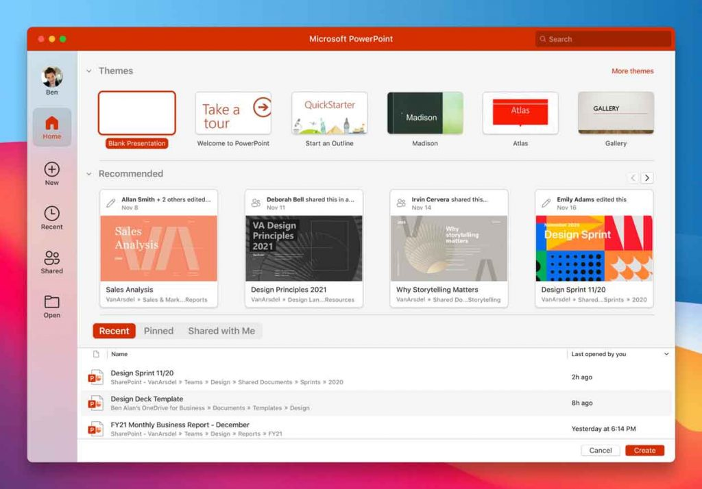 Suite bureautique Microsoft Office (macOS Big Sur)