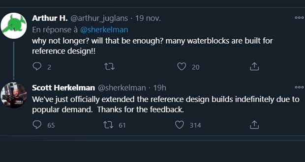 Twitter – Intervention de Scott Herkelman au sujet de la production des Radeon RX 6000 series de référence